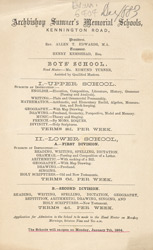 Advert For Archbishop Sumner's Memorial Schools